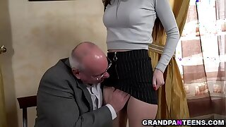 Killer college nubile Anya went to her professor Albert and offers her fresh tight pussy.