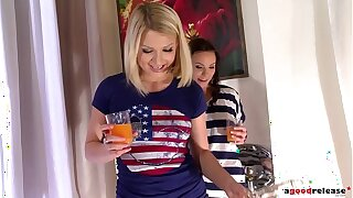 Absolutely red-hot babes Alysa & Lucy Heart share biker's rod in teen threesome