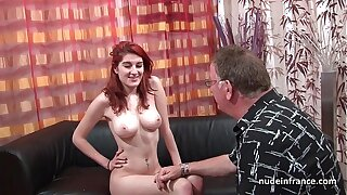 Busty french redhead babe deep buttfuck fucked with cum on ass for her audition couch