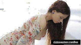 Sexy brunette teenage wanking