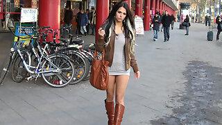 Supersexy 18yo miniskirt Mega-bitch fucked in public in Berlin