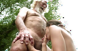 70 year old grandpa plows 18 year old lady moaning excitedly